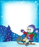 Bonhomme de neige sur l'image 4 de thème de traîneau Image libre de droits