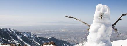 Bonhomme de neige sur la montagne Photographie stock libre de droits