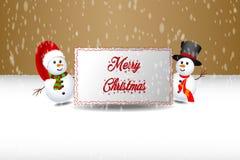 Bonhomme de neige tenant la bannière image stock