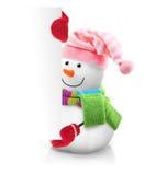 Bonhomme de neige tenant la bannière Photos stock