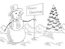 Bonhomme de neige tenant un signe de salutation dans le vecteur blanc noir graphique d'illustration de croquis de paysage de parc illustration stock