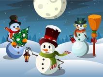 Bonhomme de neige trois Photos libres de droits