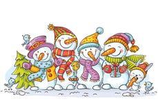 Bonhommes de neige colorés heureux avec des ornements de Noël, carte de voeux, illustration de vecteur Illustration Libre de Droits