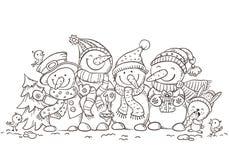 Bonhommes de neige colorés heureux avec des ornements de Noël, carte de voeux, illustration de vecteur, contour Illustration Stock