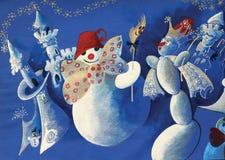 bonhommes de neige de groupe illustration stock