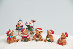 Bonhommes de neige et ours de Noël Image libre de droits