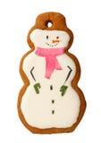 Bonhommes de neige glacés traditionnels de biscuits de Noël de pain d'épice d'isolement Image libre de droits