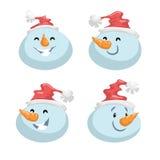 Bonhommes de neige mignons dans des avatars de vecteur d'émotion de tête de chapeau réglés Caractère de visage d'expression de ba illustration libre de droits