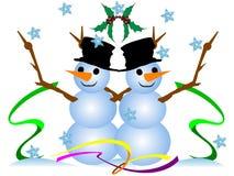 Bonhommes de neige mignons de Noël. vecteur illustration libre de droits