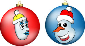 Bonhommes de neige sur des boules Photo libre de droits