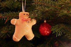 Bonhommes en pain d'épice sur l'arbre de Noël Photos stock