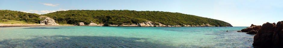 Bonifacio海滩在地中海的在可西嘉岛 库存照片