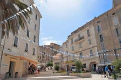 Bonifacio,可西嘉岛的老towm中心 免版税库存照片