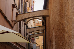 Bonifacio Alley. Typical arches in the old city of Bonifacio, in Corsica, France Royalty Free Stock Photo