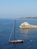 Bonifacio august 2012, sailboat leaving the bay Royalty Free Stock Photography