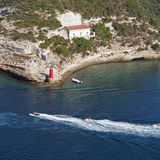 Bonifacio bay, August 2012, jet ski. Heading out of the bay Royalty Free Stock Images