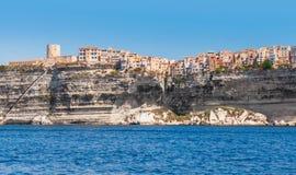 Bonifacio bergig ö Korsika, Frankrike Arkivfoton
