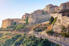 Bonifacio citadel in morning sunlight, Corsica Royalty Free Stock Image