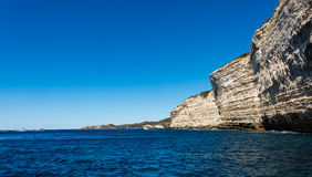 Bonifacio city, Corsica. Landscape of Bonifacio city, Corsica. Buildings and houses on cliff from sea view stock photos