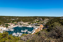 Bonifacio city, Corsica. Landscape of Bonifacio city, Corsica. Buildings and houses on cliff from sea view royalty free stock photos
