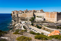 Bonifacio city, Corsica. Landscape of Bonifacio city, Corsica. Buildings and houses on cliff from sea view stock photography