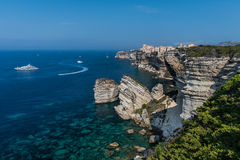 Bonifacio. A classic view of Bonifacio's spectacular 'Upper City', at the southern tip of the island of Corsica. This part of the city extends for some Stock Image