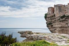 Bonifacio, Corsica. Houses of the medieval citadel on the steep cliffs of Bonifacio Royalty Free Stock Photo