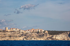 Bonifacio in Corsica perched on white cliffs above the Mediterra Stock Images