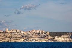 Bonifacio in Corsica perched on white cliffs above the Mediterra Stock Images
