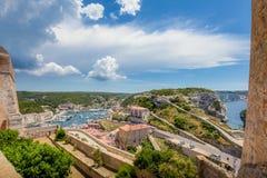 Bonifacio, a corsican town with a beautiful coastline. stock images