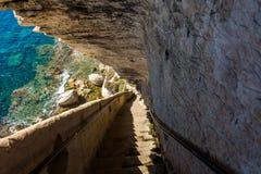 Bonifacio fortress Corsica. Fortress in the cliff, Bonifacio Corsica Stock Image