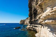 Bonifacio fortress Corsica. Fortress in the cliff, Bonifacio Corsica Stock Photos