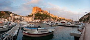 Bonifacio marina at sunrise, Corsica, France Royalty Free Stock Images