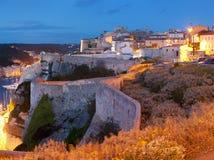Bonifacio na zonsondergang, Corsica, Frankrijk Stock Foto