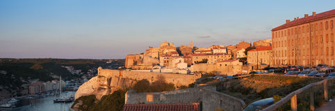 Bonifacio old city in sunset, Corsica, France Stock Photo