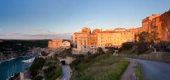 Bonifacio panorama at sunset, Corsica, France Stock Images