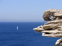 Bonifacio's limestone cliff. This shot was take on Bonifacio's cliff Royalty Free Stock Image