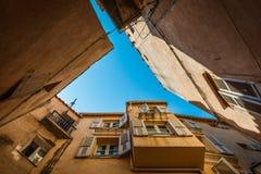 Bonifacio straight up. A look upwards inside the old town of Bonifacio, Corsica, France Royalty Free Stock Image