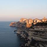 Bonifacio at sunrise, Corsica, France. Bonifacio limestone sea cliff at sunrise, Corsica, France Stock Images