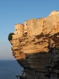 Bonifacio at sunrise, Corsica, France. Bonifacio limestone cliff at sunrise, Corsica, France Royalty Free Stock Image