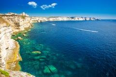 Bonifacio town on beautiful white rock cliff with sea bay, Corsi Stock Photography