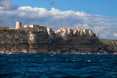 Bonifacio the village on the rocks, Corsica, France Royalty Free Stock Image