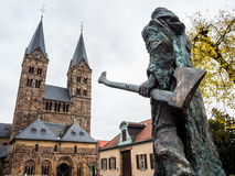 Bonifatius in front of the cathedral in Fritzlar royalty free stock image
