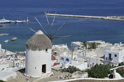 Bonis Windmill. Housing the Folklore Museum overlooking the town of Mykonos Greece Royalty Free Stock Images