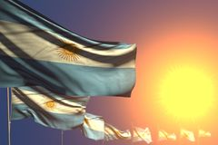 Bonito alguma ilustração da bandeira 3d da ocasião - muitas bandeiras de Argentina no por do sol colocaram diagonal com foco sele ilustração royalty free