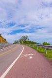 Bonito da pista de bicicleta ao longo do mar, Chanthaburi, Tailândia Fotos de Stock Royalty Free