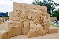 ` Bonito do porco e da pimenta do ` da escultura da areia na exposição do país das maravilhas, em Blacktown Showground foto de stock