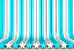 Bonito ilumine - a ilustração 3D azul do fundo abstrato - as superfícies volumétricos formadas com forma expulsa da estrela, chri ilustração royalty free