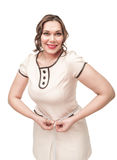 Bonito mais a cintura de medição da mulher do tamanho Fotos de Stock Royalty Free