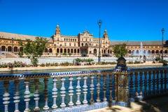 Bonito Plaza de Espana, Sevilha, Espanha Fotografia de Stock